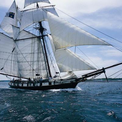 La goélette La Recouvrance en naviguation sous voiles en rade de Brest.